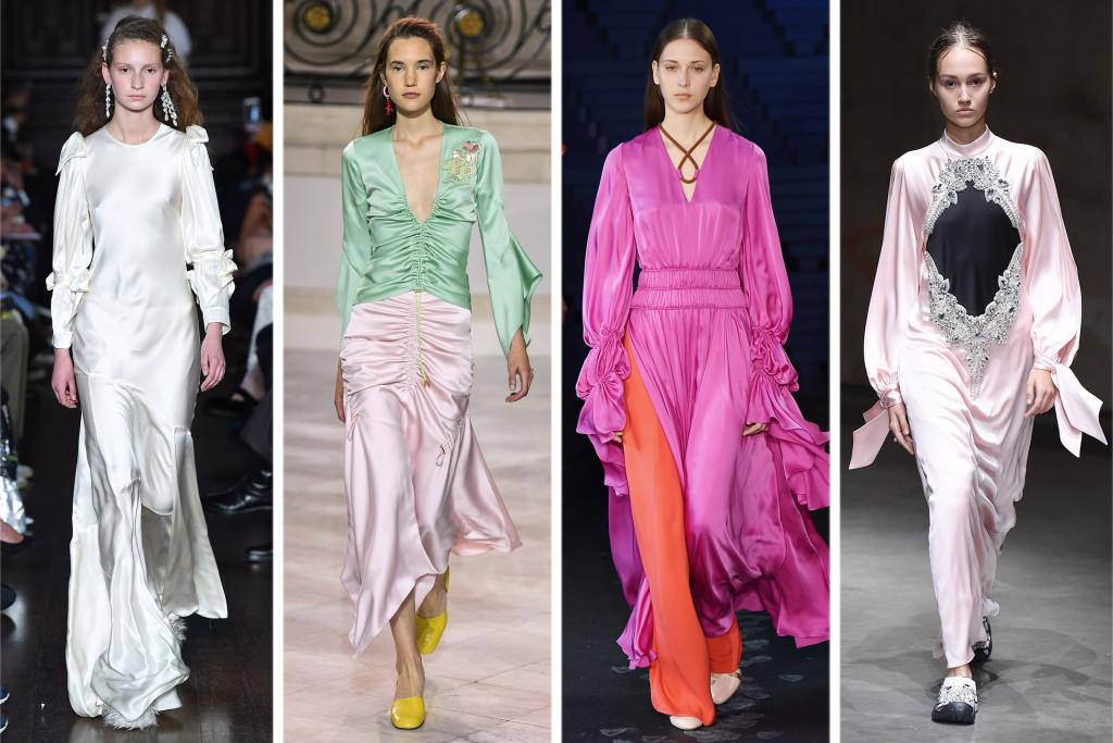 satin, dress, dresses, satin dress, runway, 2018, fashion, style